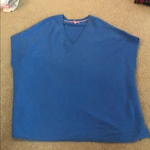 Lilly Pulitzer Chloe Cashmere Poncho Blue Pullover
